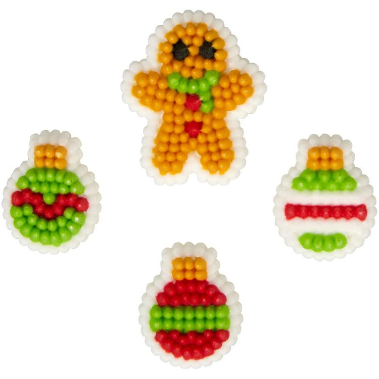 Gingerbread Boy and Ornament Icing Decorations, 0.88 oz.