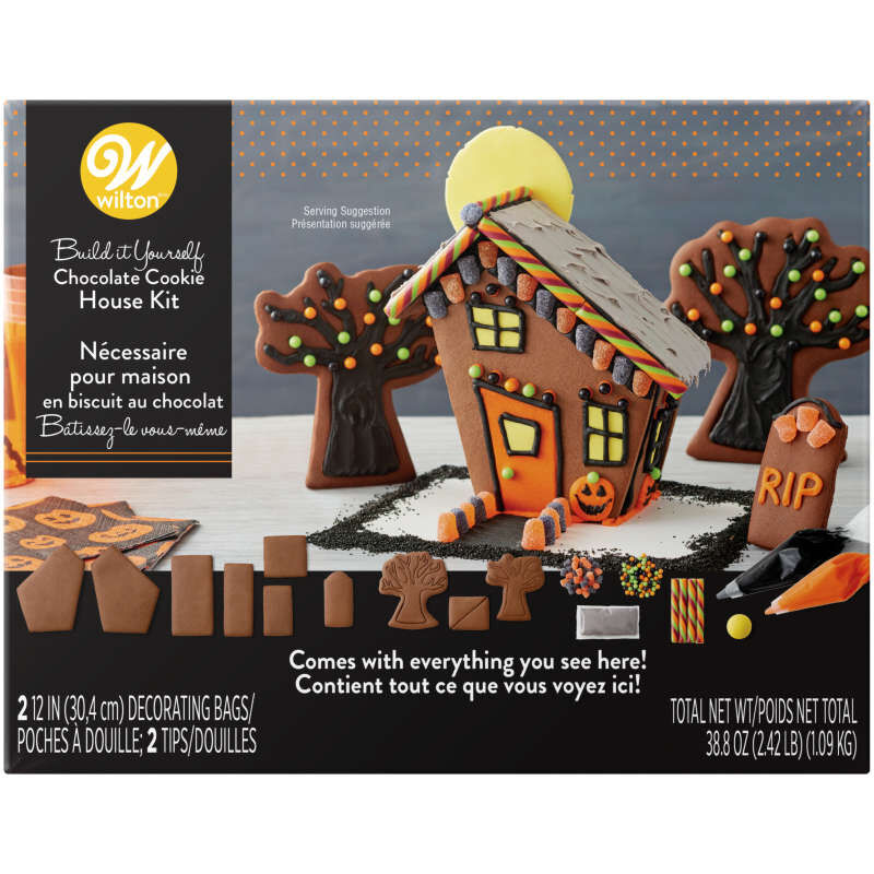 Build It Yourself Chocolate Cookie Halloween House Decorating Kit image number 2