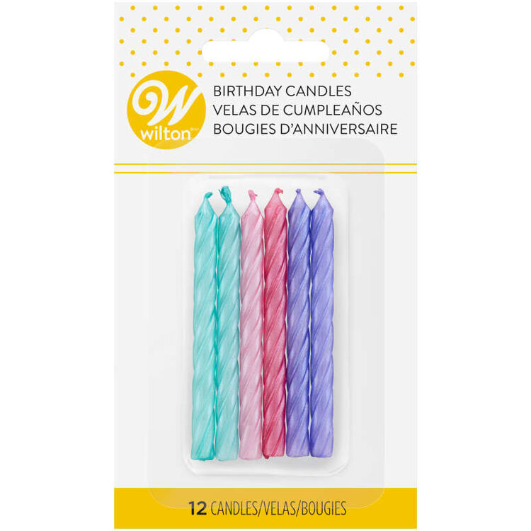 Teal, Pink and Purple Metallic Birthday Candles, 12-Count