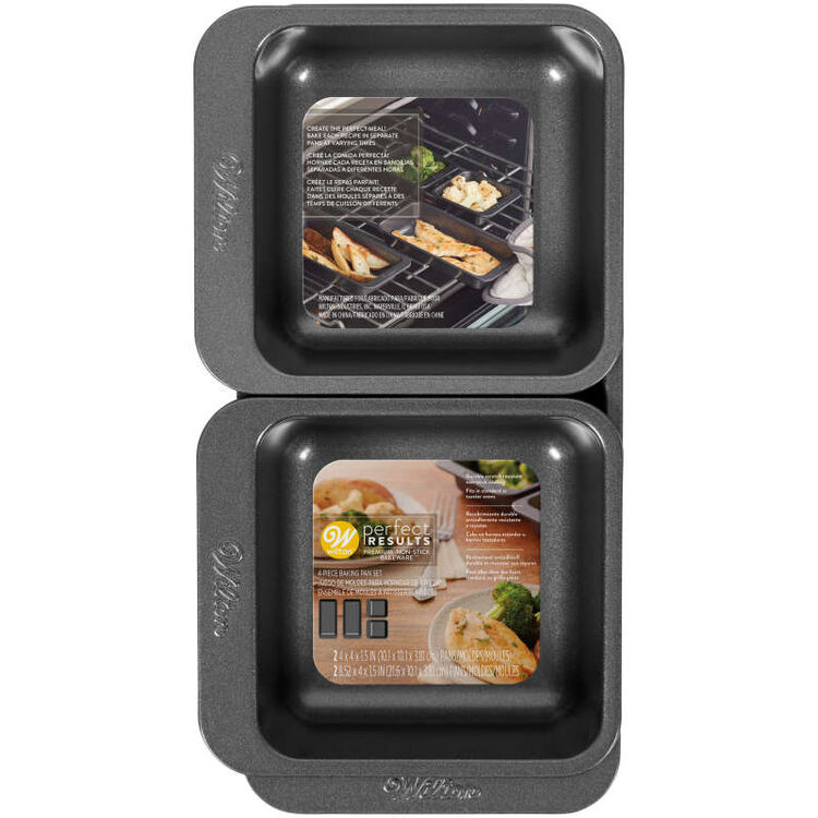 Perfect Results Square and Oblong Premium Non-Stick Baking Pan Set, 4-Piece