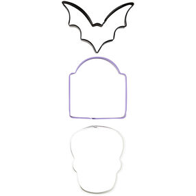 Bat, Tombstone and Skull Cookie Cutter Set, 3-Piece