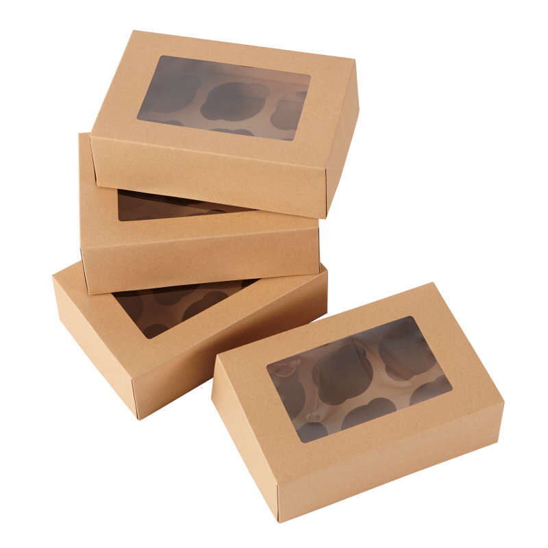 6-Cavity Kraft Cupcake Gift Boxes, Multipack of 2 image number 3