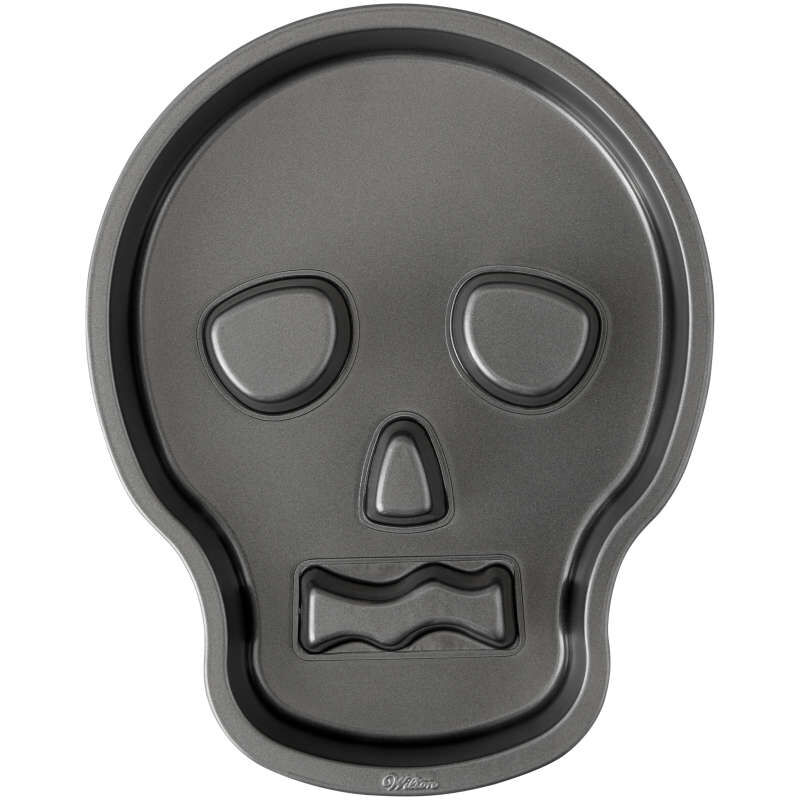 Halloween Non-Stick Skull-Shaped Cake Pan, 9.5 x 12-Inch image number 0