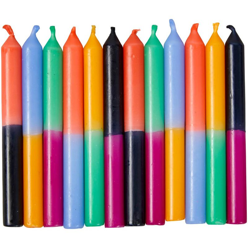 Bold Color Block Birthday Candles, 12-Count image number 0