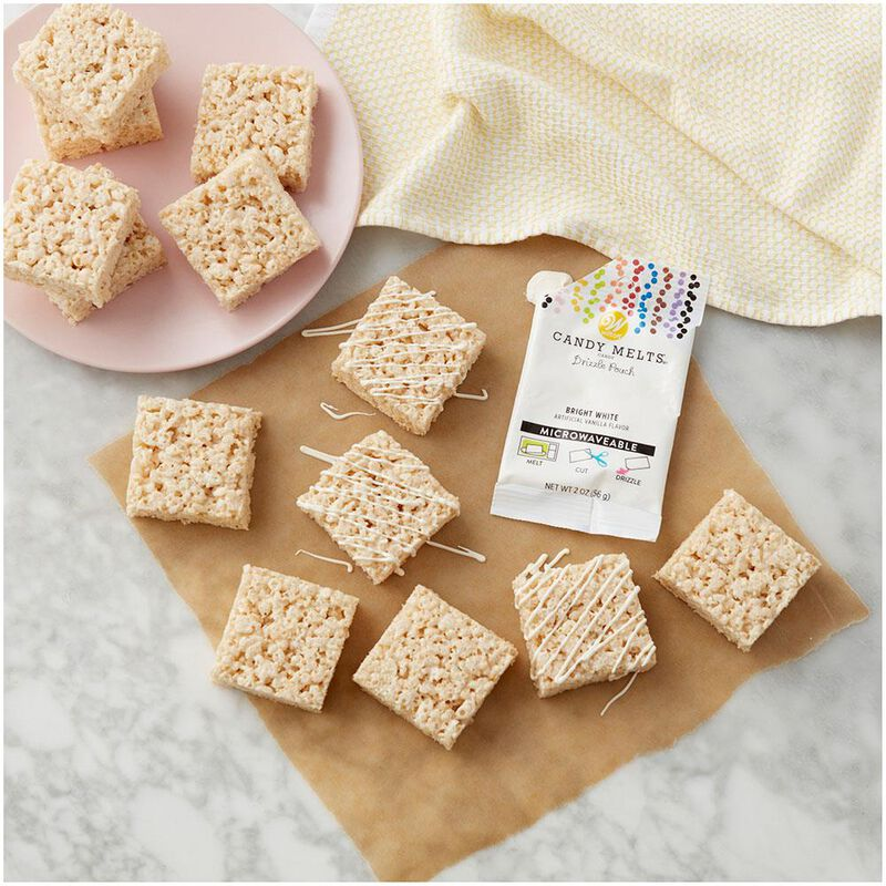 Bright White Candy Melts Drizzle Pouch 2 oz image number 2