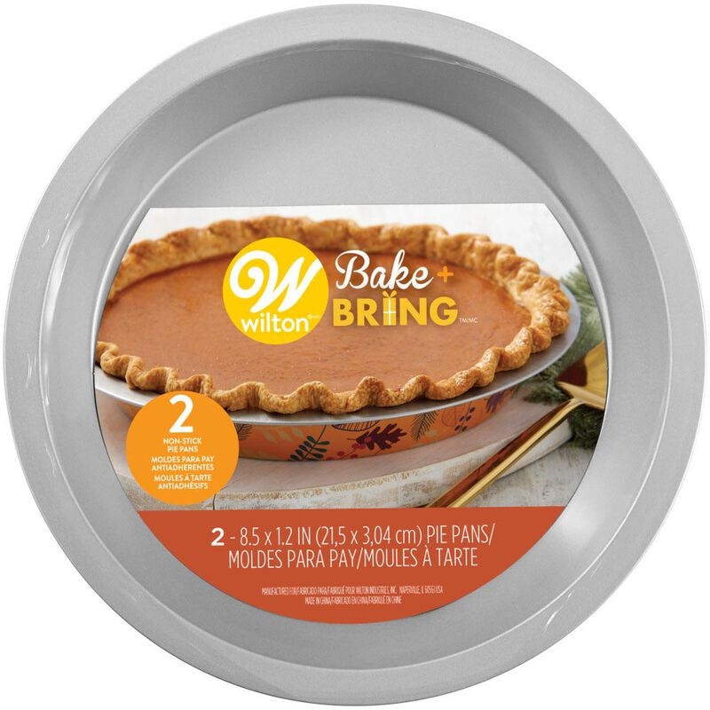 Bake and Bring Autumn Print 8.5-Inch Non-Stick Pie Pans, 2-Count image number 1