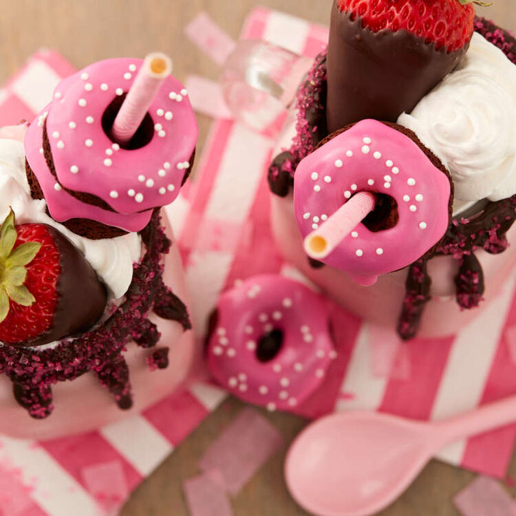Strawberry Milkshakes with Mini Donut Toppers