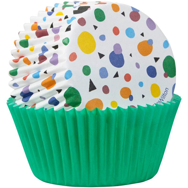 Geometric Print and Solid Green Mini Cupcake Liners, 100-Count image number 1