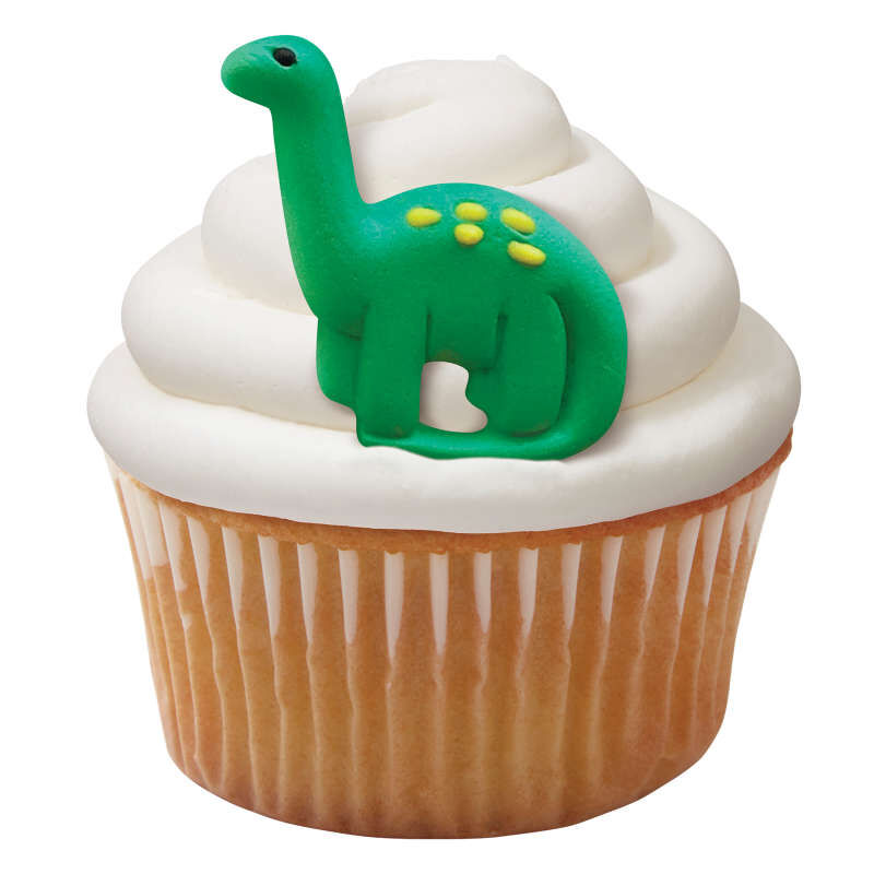 Green and Orange Dinosaur Royal Icing Decorations, 12-Count image number 3