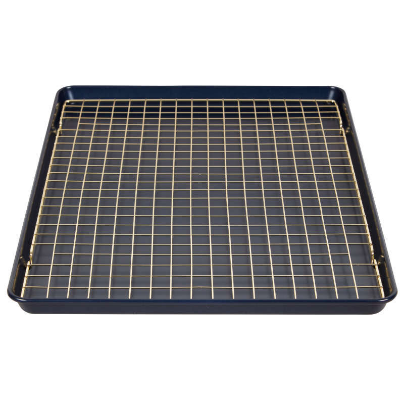 Non-Stick Diamond-Infused Navy Blue Mega Cookie Sheet with Gold Cooling Grid Set image number 1
