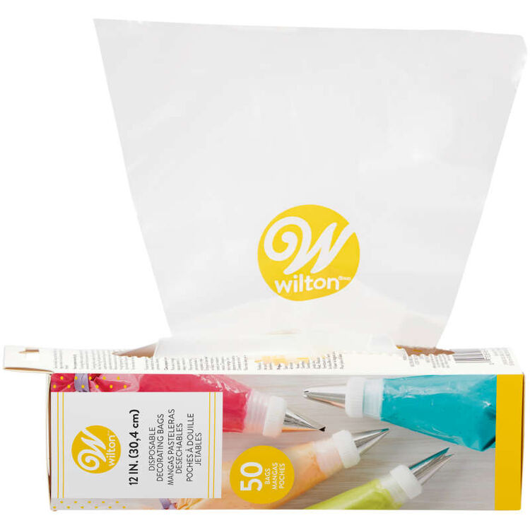 12-Inch Disposable Cake Decorating Piping Bags, 50-Count
