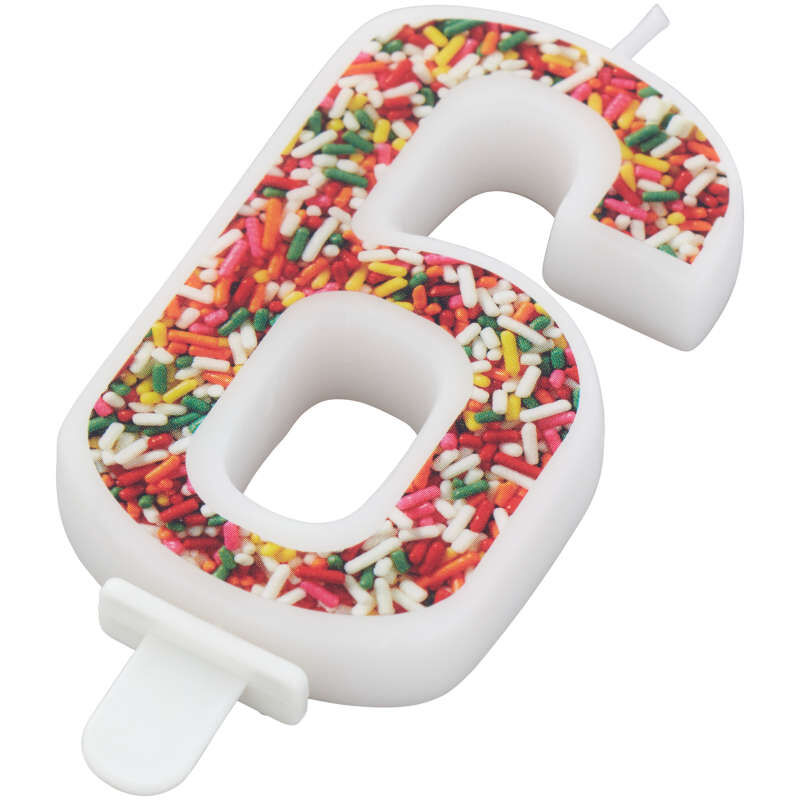 Sprinkle Pattern Number 6 Birthday Candle, 3-Inch image number 1