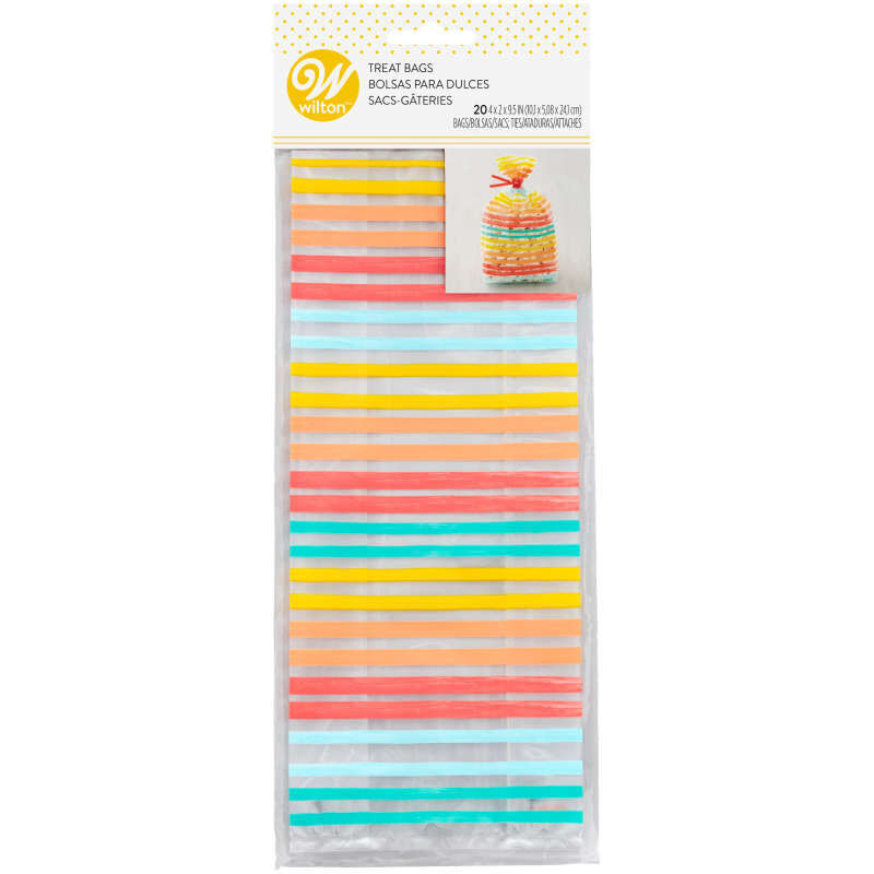 Yellow, Orange, Red and Blue Striped Treat Bags and Ties, 20-Count image number 2