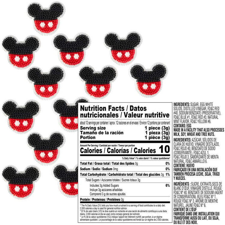 Mickey Mouse Edible Decorations Nutrition Facts and Ingredients