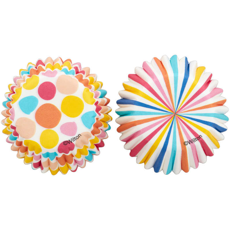 Colorful Polka Dot and Stripes Mini Baking Cups, 100-Count image number 0