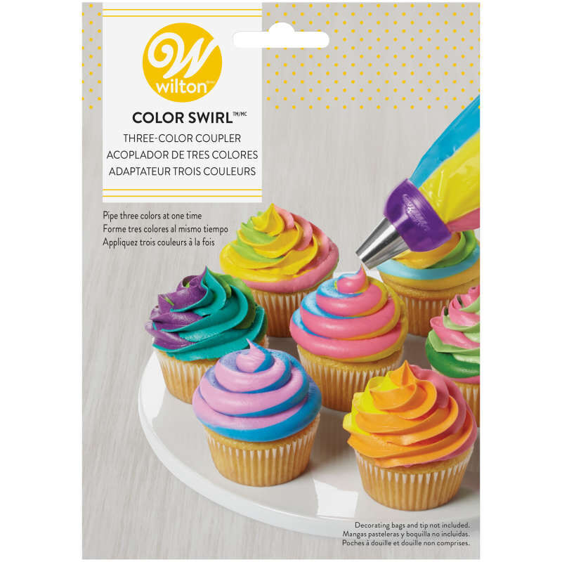 Color Swirl 3-Color Coupler Cupcake Decorating Set image number 0