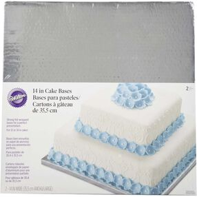 14 in. Square Silver Cake Base