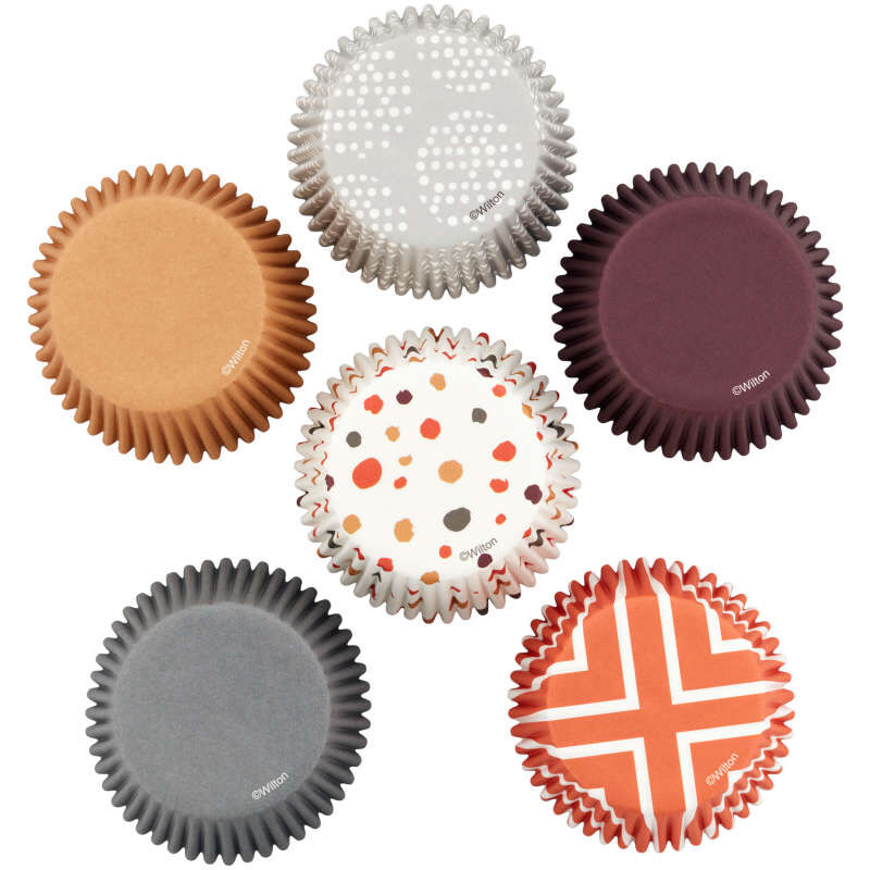 Brown, Orange, Grey and Neutral Print Standard Baking Cups, 150-Count image number 1