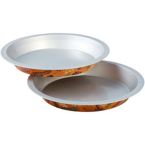 Bake and Bring Autumn Print 8.5-Inch Non-Stick Pie Pans, 2-Count