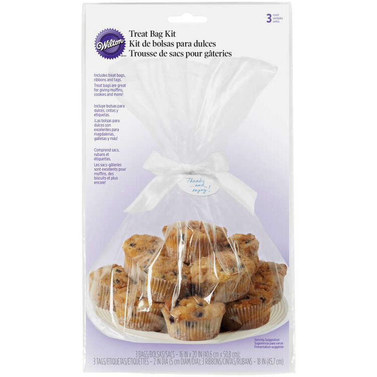 Clear Large Treat Bags Kit, 3-Count