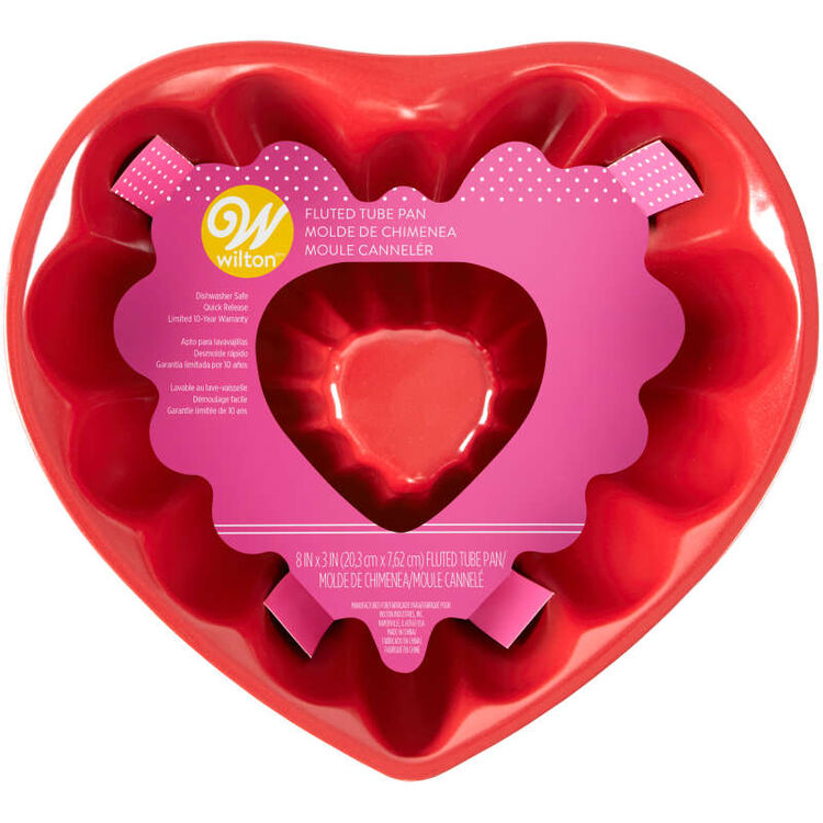 Red Heart-Shaped Non-Stick Fluted Tube Pan, 8-Inch