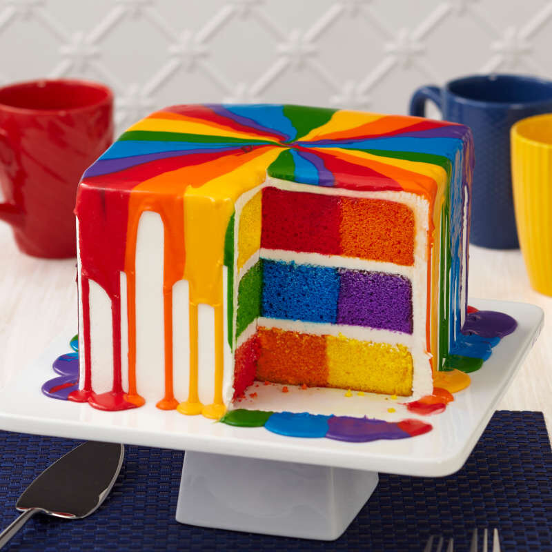 Square Rainbow Checkerboard Cake Pan, 4 Piece Set image number 3