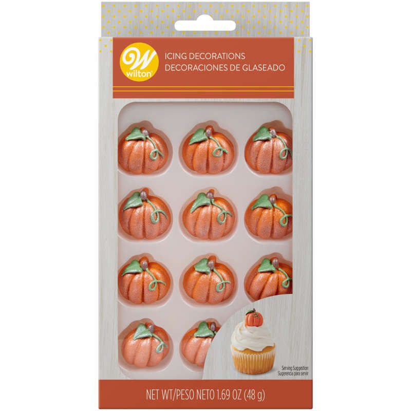 Shimmer Pumpkin Icing Decorations, 12-Count image number 2