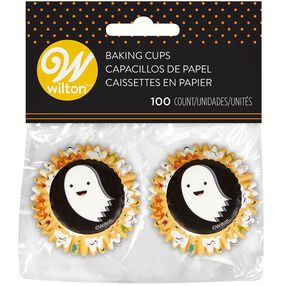 Halloween Emoji Ghost Mini Cupcake Liners, 100-Count