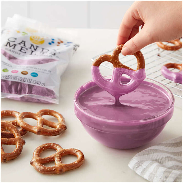 pretzel dipped in lavender candy melts candy