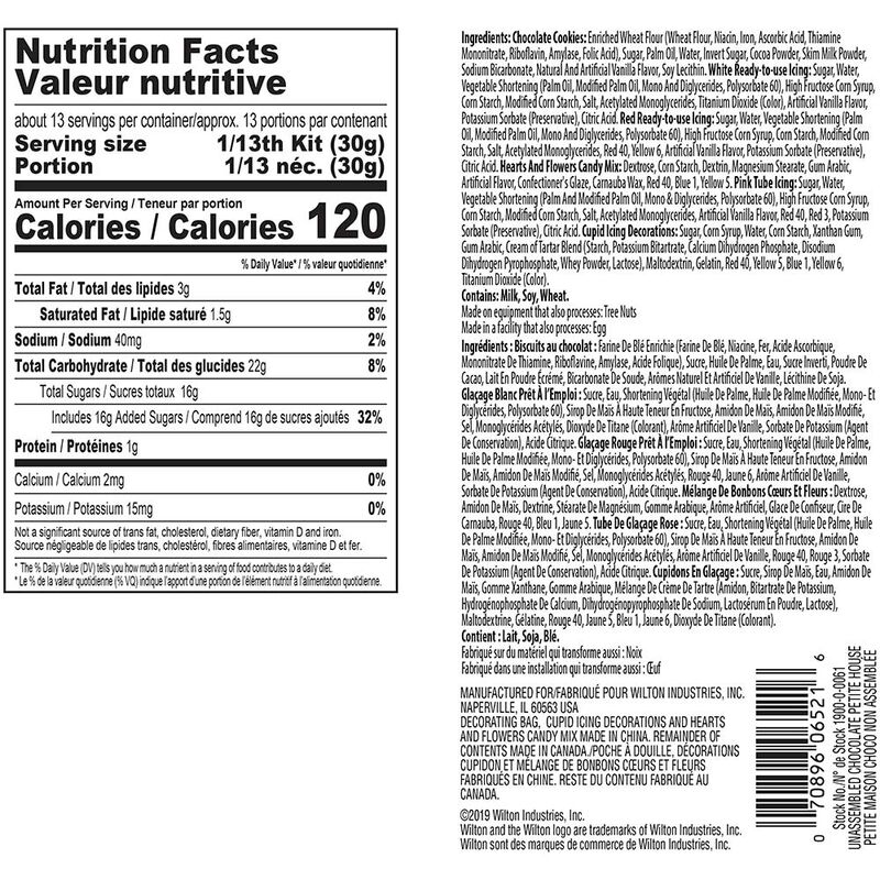 Valentine's Day cookie house decorating kit ingredients and nutrition facts image number 2