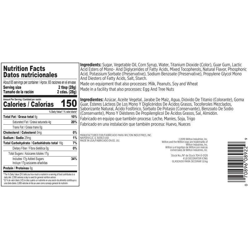 Creamy White Decorator Icing Nutrition Facts and Ingredients image number 1