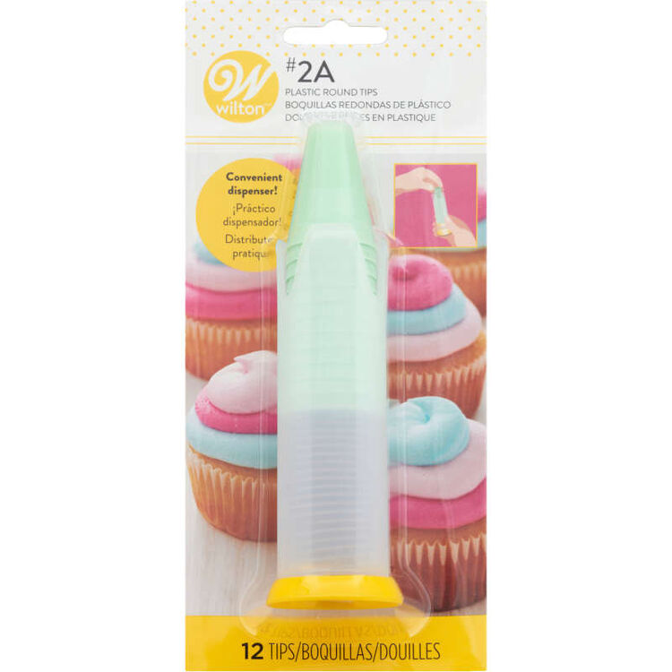Pop-Up Piping Tip Dispenser with 12 Disposable Piping Tips, Tip 2A