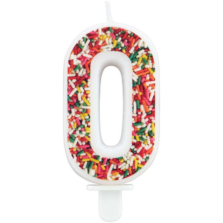 Sprinkle on the Birthday Fun Number 0 Birthday Candle
