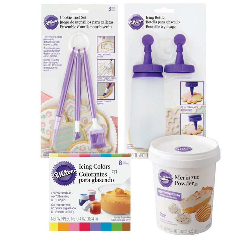 Sugar Cookie Decorating Kit, 15-Piece - Tool Set, Meringue Powder, Icing Colors and Decorating Bottle image number 0
