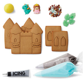 Cookie Creations Fantasy Castle Cookie Kit - 4 pre-baked cookie panels^grey, light blue and black icing^candy stones^candy trees^yellow fondant^dragon and princess icing decorations^2 decorating bags^2 round tips