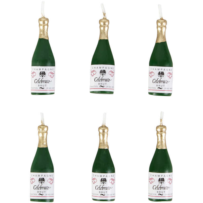 Champagne Bottle Candles, 6-Count image number 1