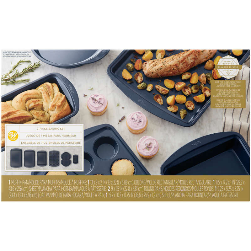 Diamond-Infused Non-Stick Navy Blue Baking Set, 7-Piece image number 1