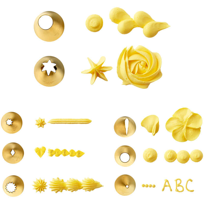 Navy Blue and Gold Piping Tips and Cake Decorating Supplies Set, 17-Piece image number 1