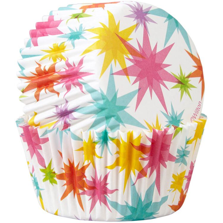 Multicolor Starburst Cupcake Liners, 50-Count