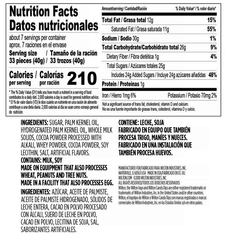 Light Cocoa Candy melts Candy Dips 10 oz Nutriton Facts and Ingredients