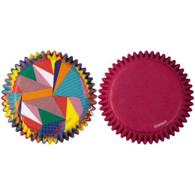 Pop Art Triangle and Solid Purple Cupcake Liners, 75-Count image number 0