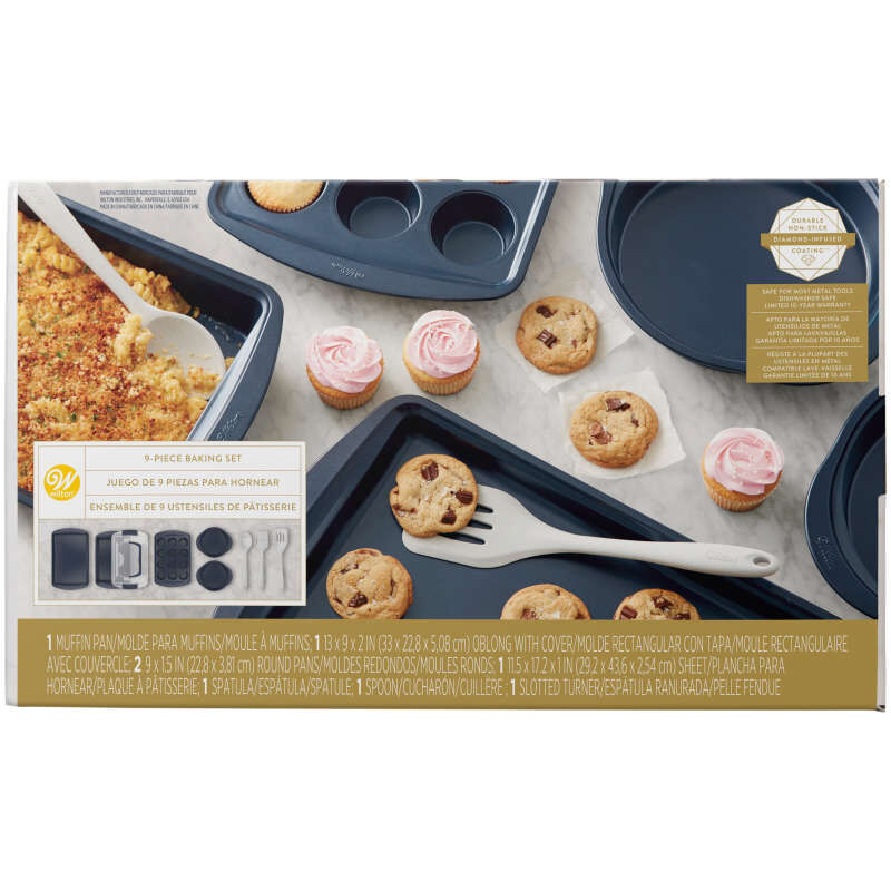 Diamond-Infused Non-Stick Navy Blue Baking Set, 9-Piece image number 0