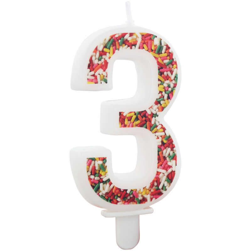 Sprinkle Pattern Number 3 Birthday Candle, 3-Inch image number 2