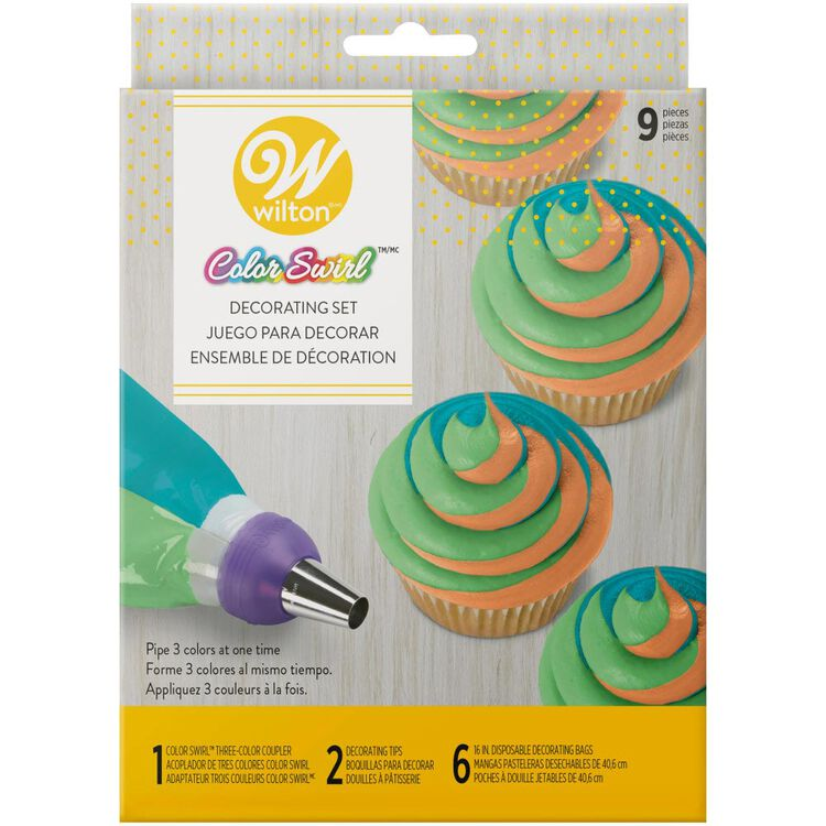 Color Swirl, 3-Color Piping Bag Coupler, 9-Piece Cake Decorating Kit