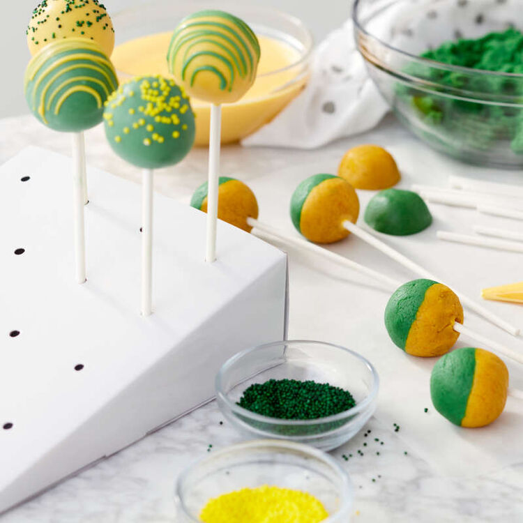 Green and Yellow Cake Pops