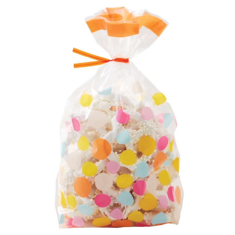 Yellow, Blue, Pink and Orange Polka Dot Treat Bags and Ties, 20-Count image number 3