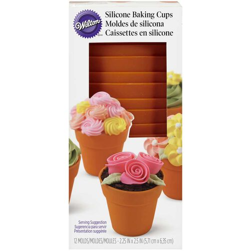 Terra Cotta Pot Shaped Silicone Baking Cups