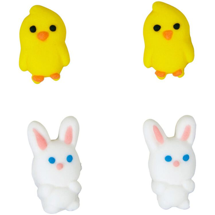 Easter Chicks and Bunnies Icing Decorations, 24-Count