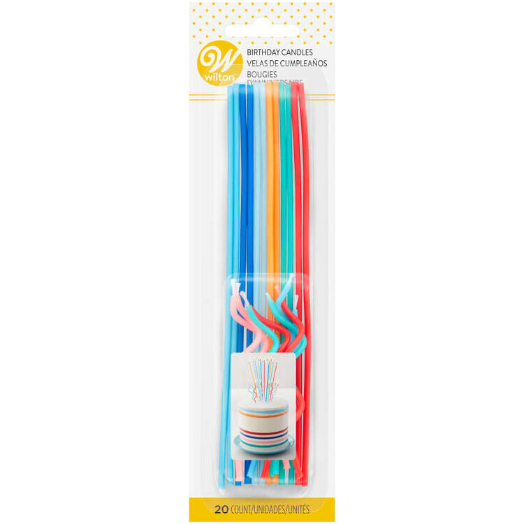 Blue, Orange, Teal and Red Unique Straight & Curly Birthday Candles, 20-Count