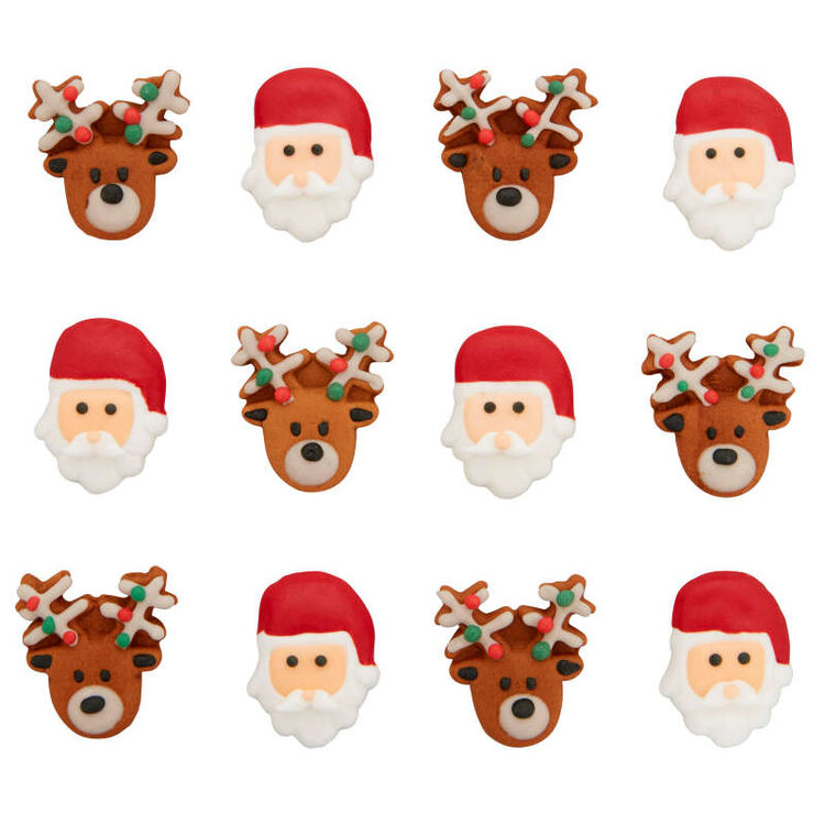 Santa and Reindeer Royal Icing Decorations, 12-Count